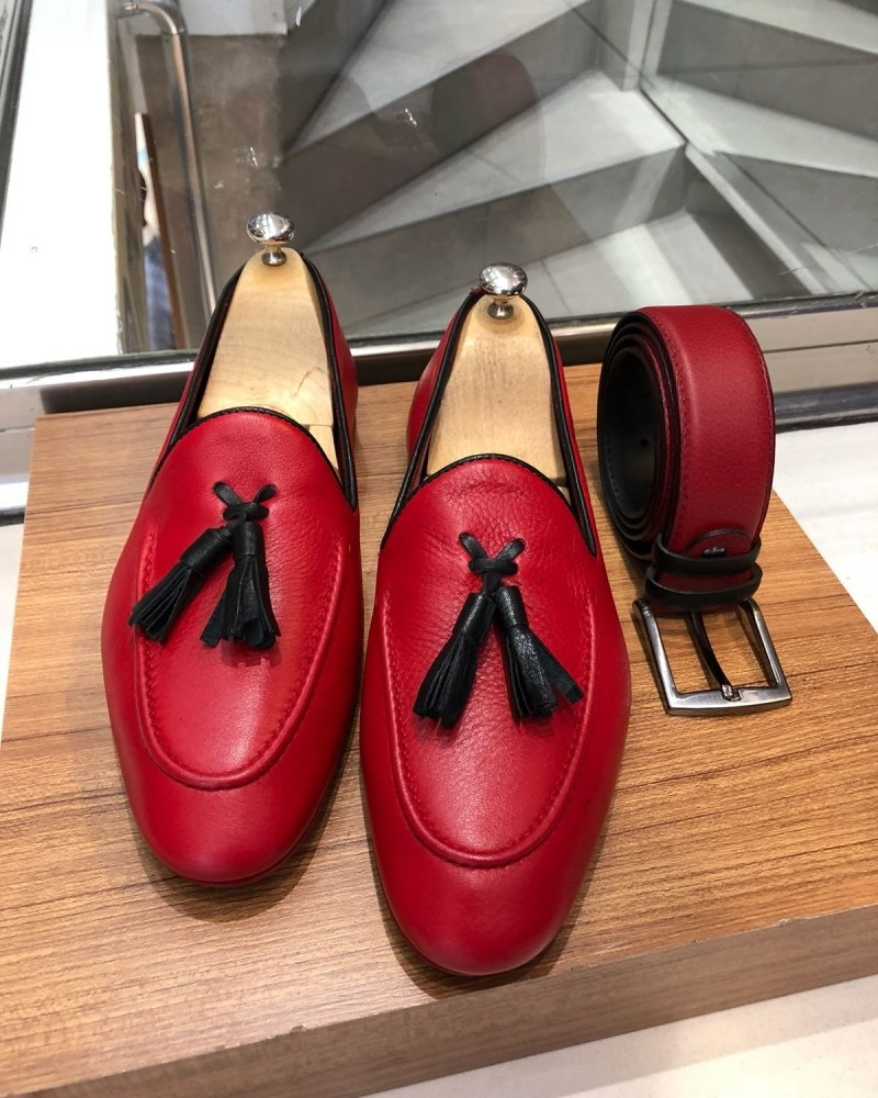 Red Calf Leather Tassel Loafer by Gentwith.com with Free Shipping