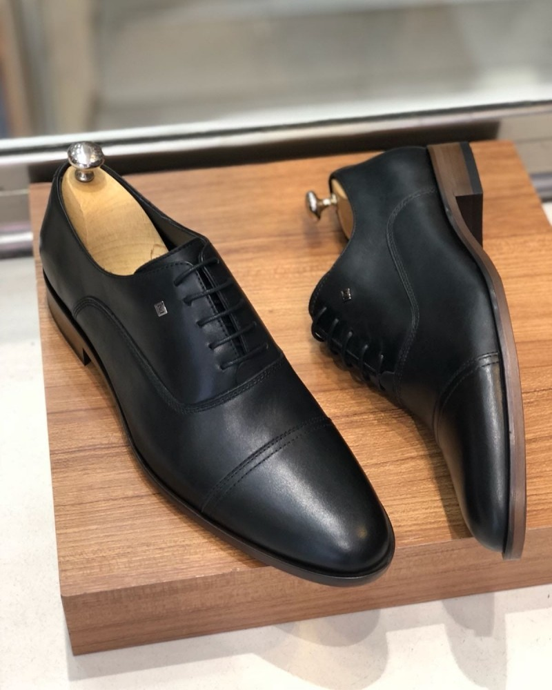 Black Calf Leather Oxford by Gentwith.com with Free Shipping