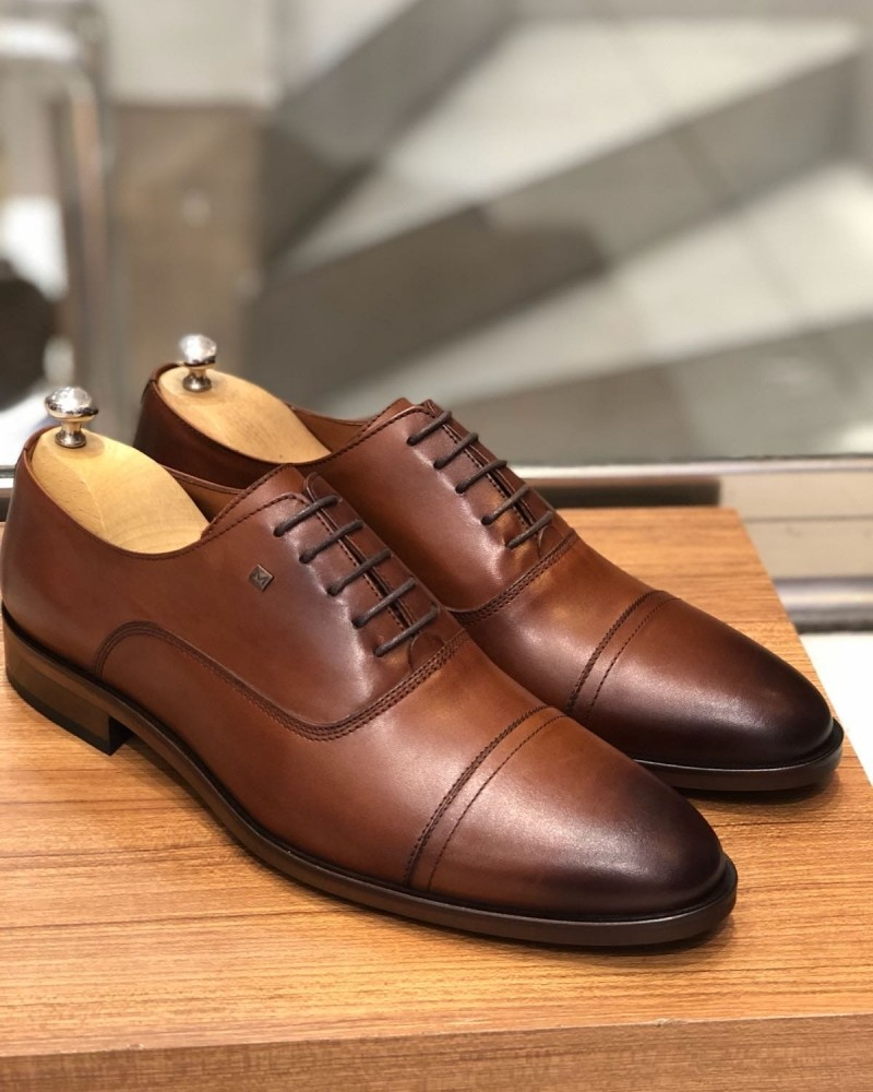 Camel Calf Leather Oxford by Gentwith.com with Free Shipping