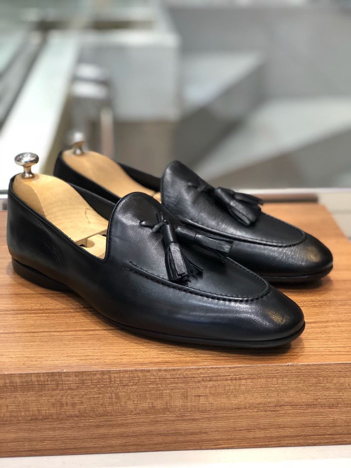 683ac42d552 Black Calf Leather Tassel Loafer by Gentwith.com with Free Shipping
