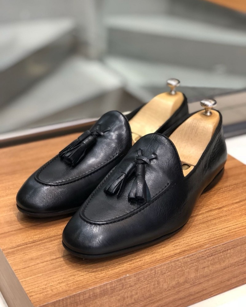Black Calf Leather Tassel Loafer by Gentwith.com with Free Shipping