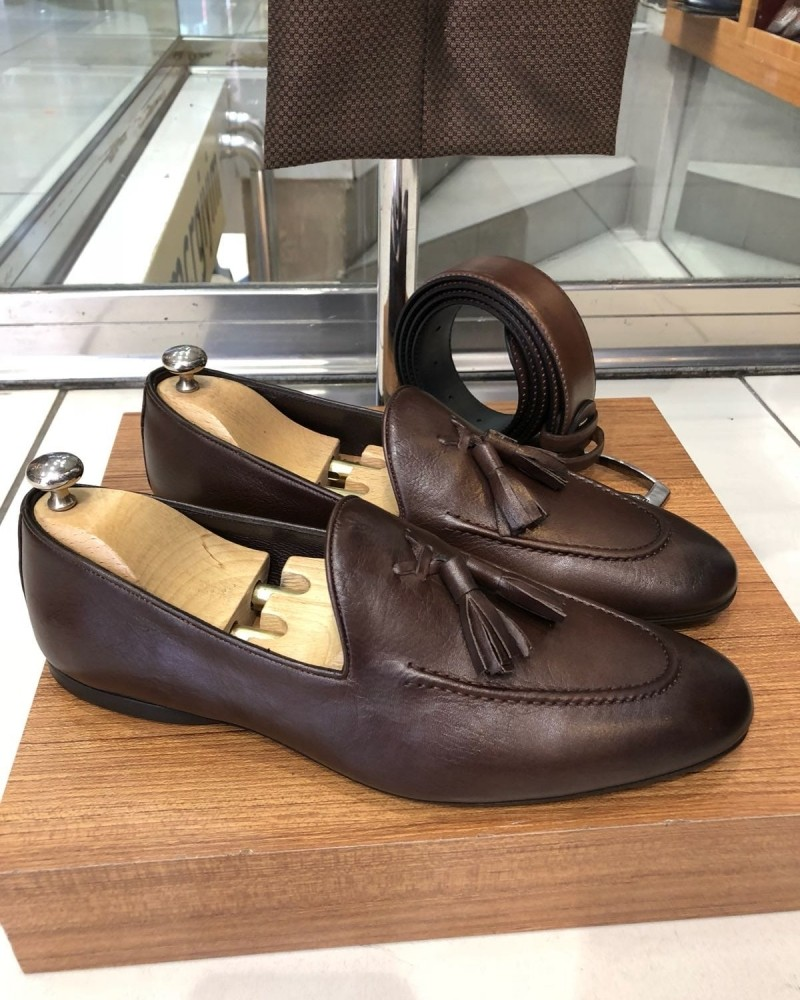 Brown Calf Leather Tassel Loafer by Gentwith.com with Free Shipping