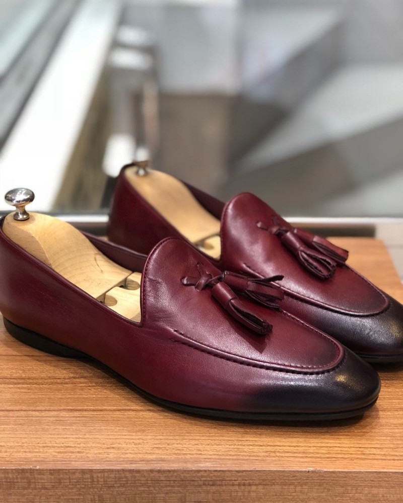 Burgundy Calf Leather Tassel Loafer by Gentwith.com with Free Shipping