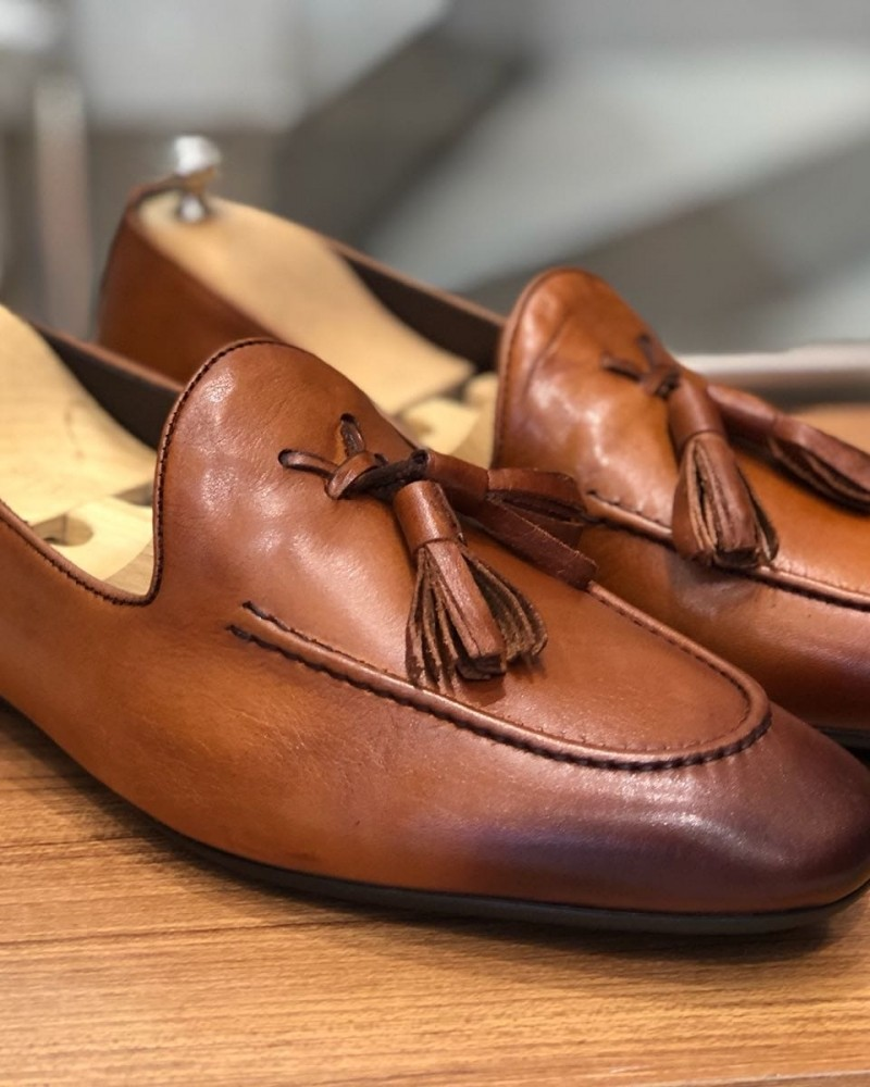 Camel Calf Leather Tassel Loafer by Gentwith.com with Free Shipping