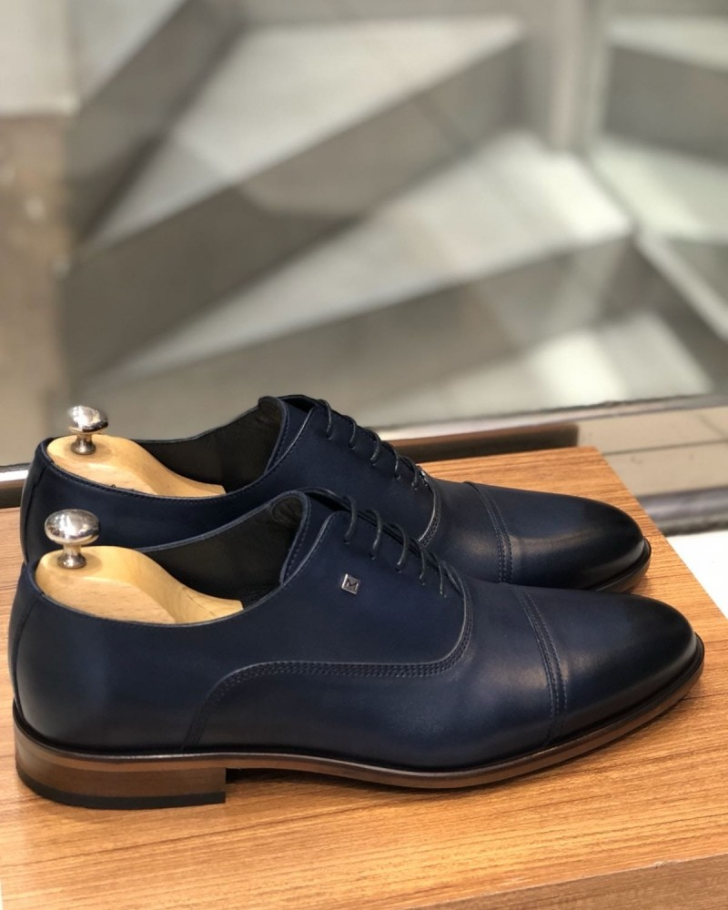 Blue Calf Leather Oxford by Gentwith.com with Free Shipping