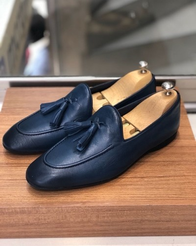 Navy Blue Calf Leather Tassel Loafer by Gentwith.com with Free Shipping