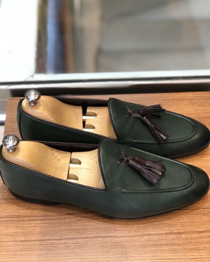 Green Calf Leather Tassel Loafer by Gentwith.com with Free Shipping