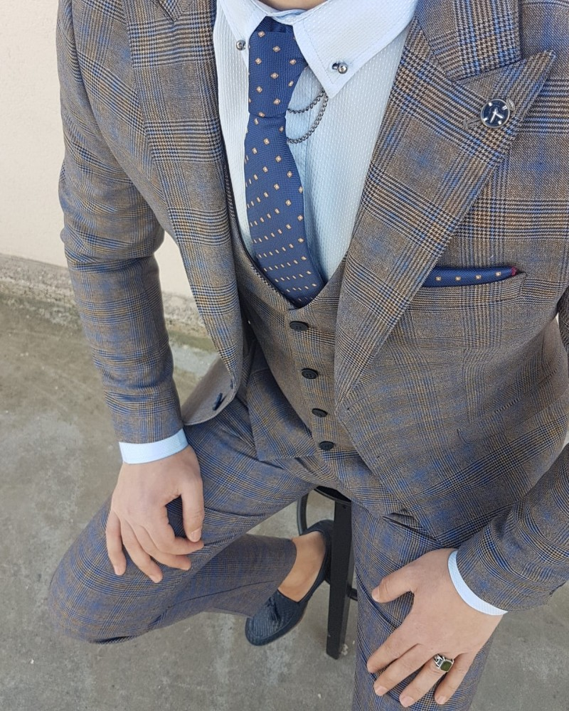 Camel Slim Fit Patterned Suit by Gentwith.com with Free Shipping