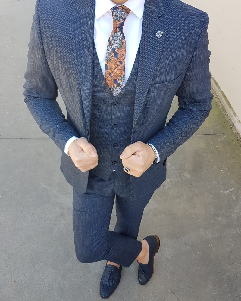 Navy Blue Men's Suit by Gentwith.com with Free Shipping