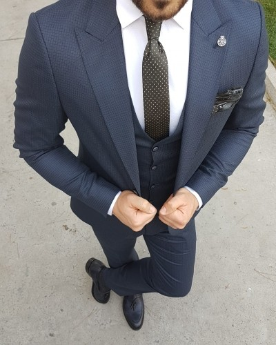 Navy Blue Slim Fit Suit by Gentwith.com with Free Shipping