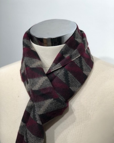 Claret Red Patterned Scarf by Gentwith.com with Free Shipping