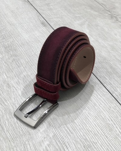 Bordeaux Suede Leather Belt by Gentwith.com with Free Shipping
