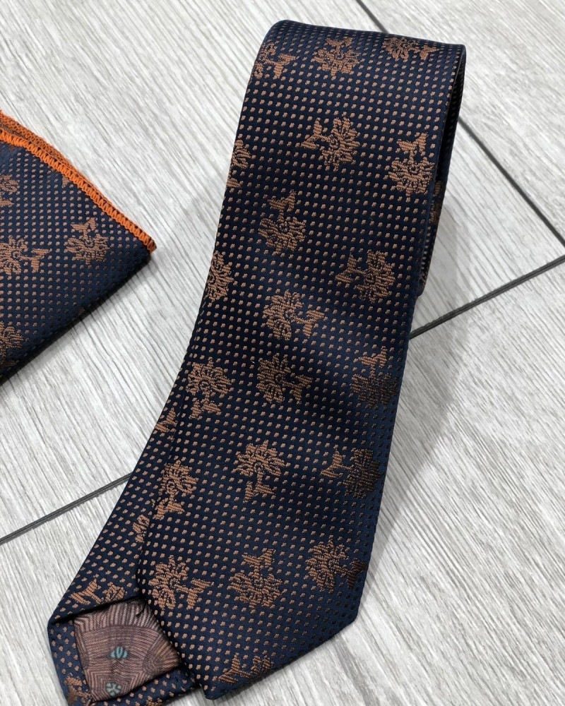 Navy Blue Floral Tie by Gentwith.com with Free Shipping