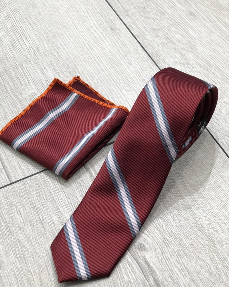 Claret Red Striped Tie by Gentwith.com with Free Shipping