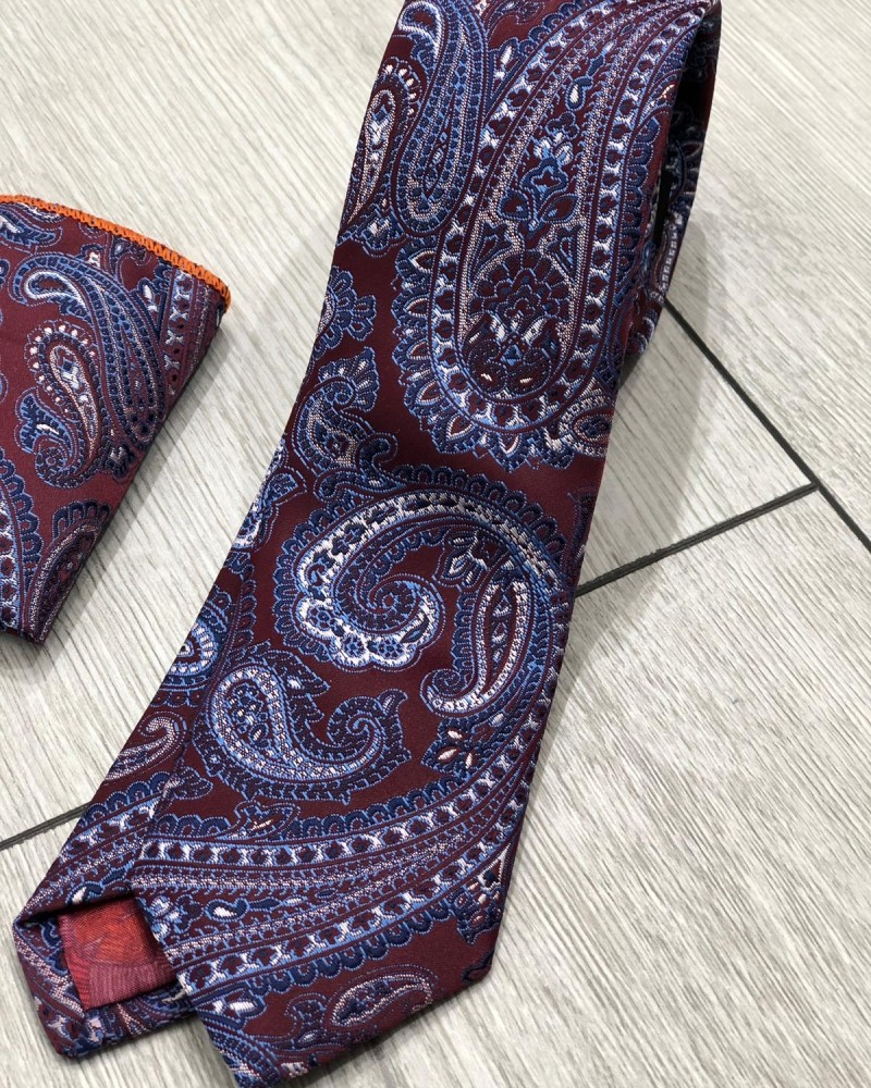 Claret Red Floral Tie by Gentwith.com with Free Shipping