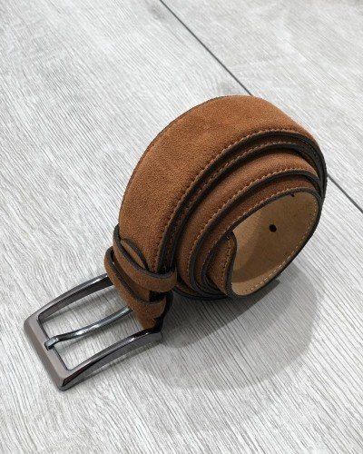 Camel Suede Leather Belt by Gentwith.com with Free Shipping