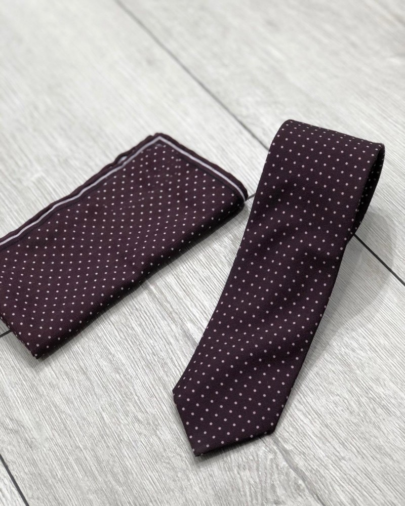 Claret Red Dotted Tie by Gentwith.com with Free Shipping