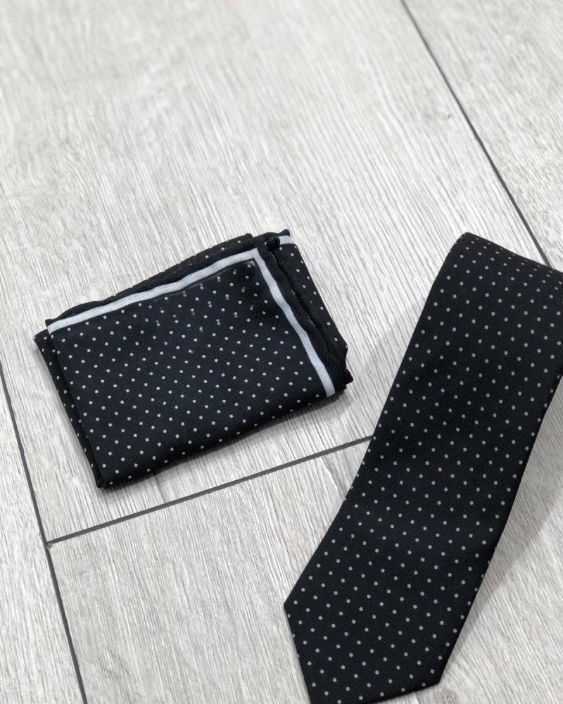 Black Dotted Tie by Gentwith.com with Free Shipping