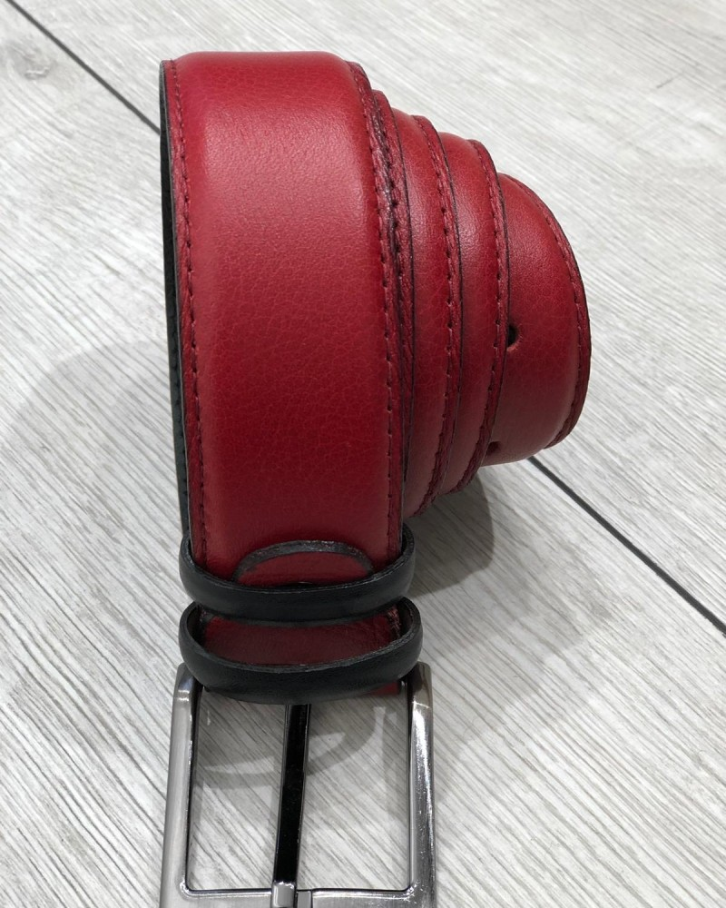 Red Leather Belt by Gentwith.com with Free Shipping