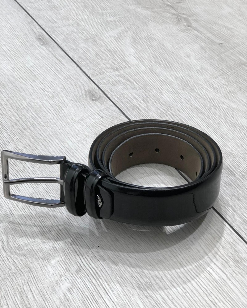 Black Leather Belt by Gentwith.com with Free Shipping