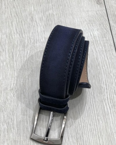 Navy Blue Suede Leather Belt by Gentwith.com with Free Shipping