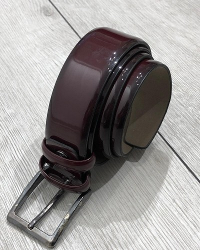 Bordeaux Leather Belt by Gentwith.com with Free Shipping