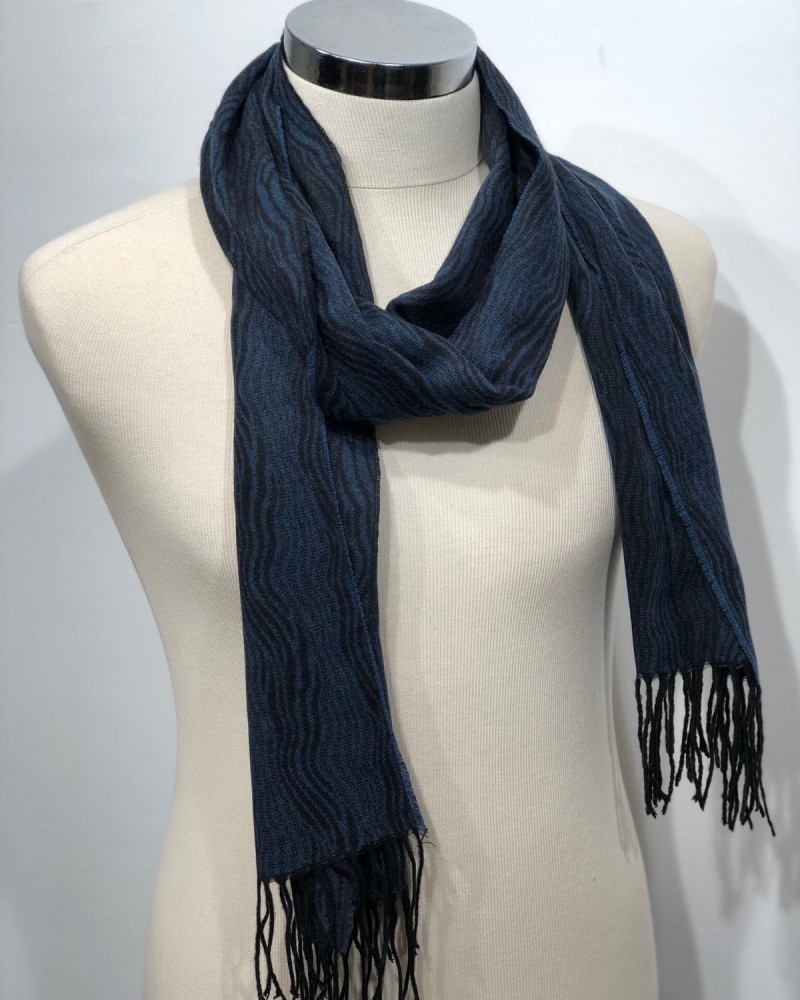 Blue Patterned Scarf by Gentwith.com with Free Shipping