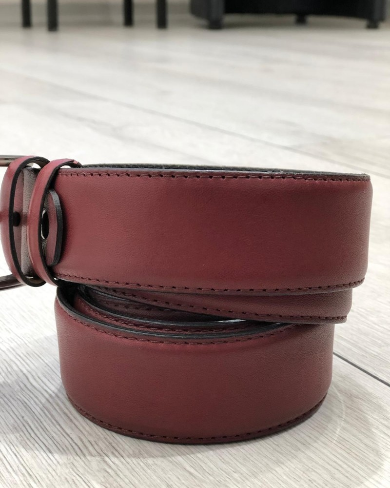 Claret Red Leather Belt by Gentwith.com with Free Shipping