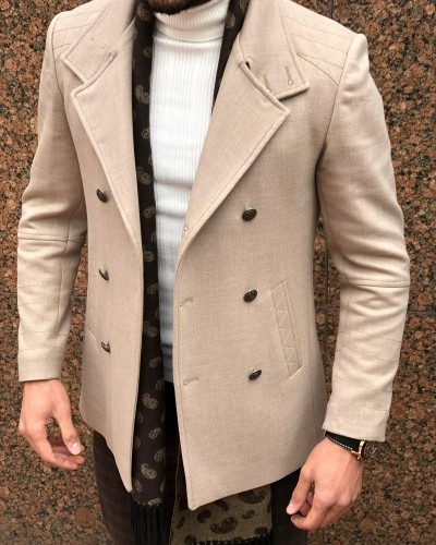 Beige Slim Fit Wool Coat by Gentwith.com with Free Shipping