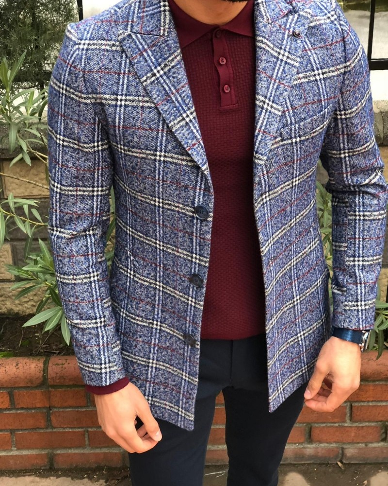 Indigo Slim Fit Plaid Wool Coat by Gentwith.com with Free Shipping