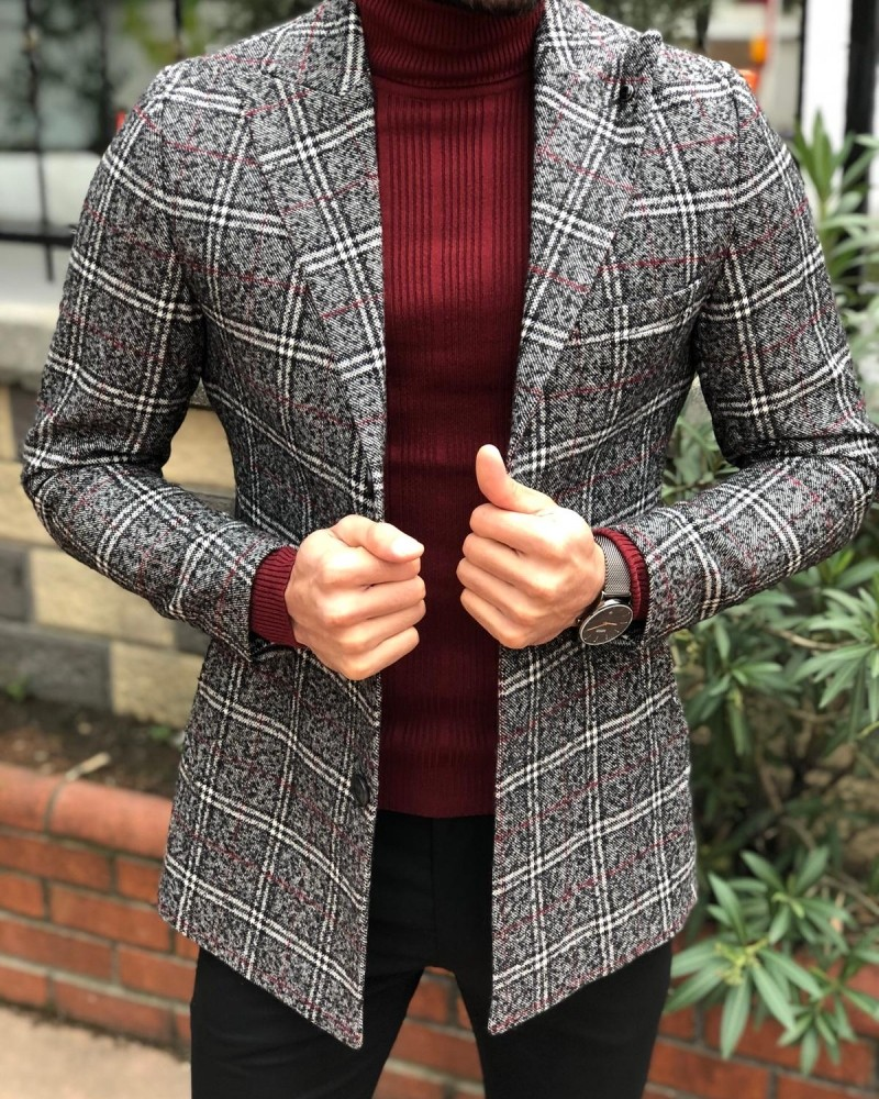 Gray Slim Fit Plaid Wool Coat by Gentwith.com with Free Shipping