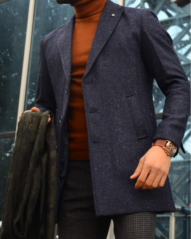 Navy Blue Slim Fit Wool Coat by Gentwith.com with Free Shipping