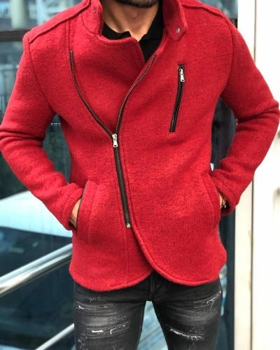 Red Slim Fit Wool Coat by Gentwith.com with Free Shipping