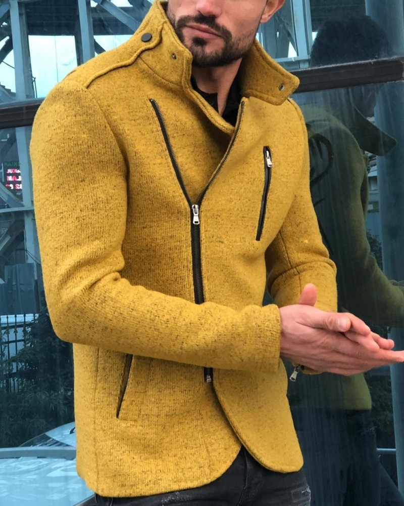 Yellow Slim Fit Wool Coat by Gentwith.com with Free Shipping