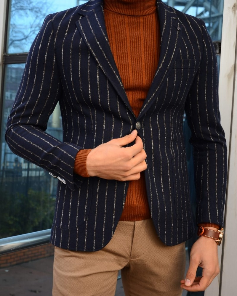 Navy Blue Slim Fit Blazer by Gentwith.com with Free Shipping