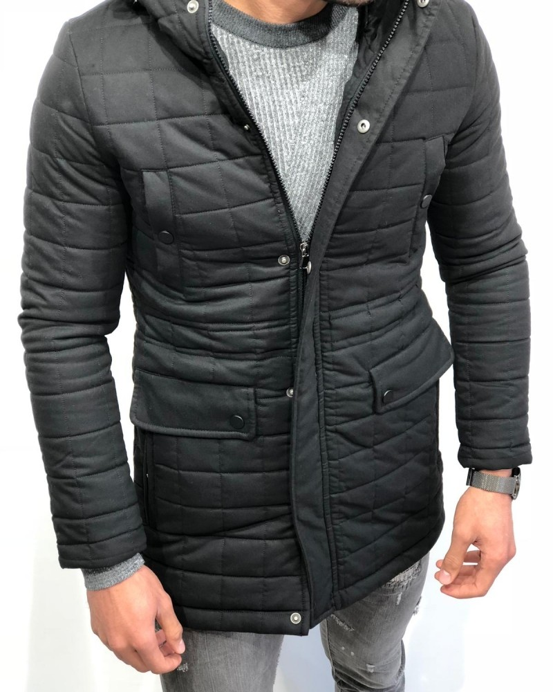 Black Slim Fit Leather Jacket by Gentwith.com with Free Shipping