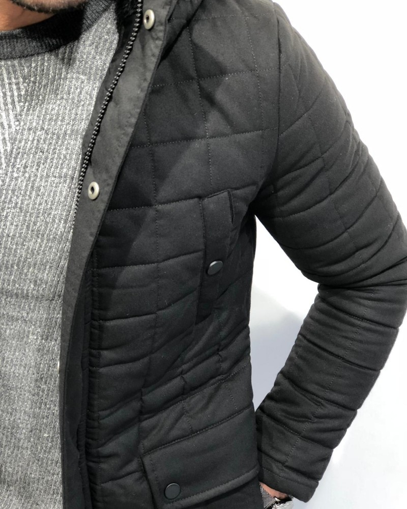 Black Slim Fit Coat by Gentwith.com with Free Shipping