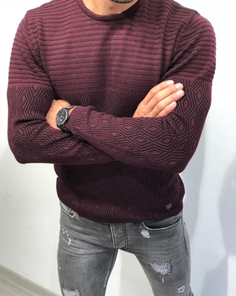 Men's Claret Red Slim Fit Sweater by Gentwith.com with Free Shipping