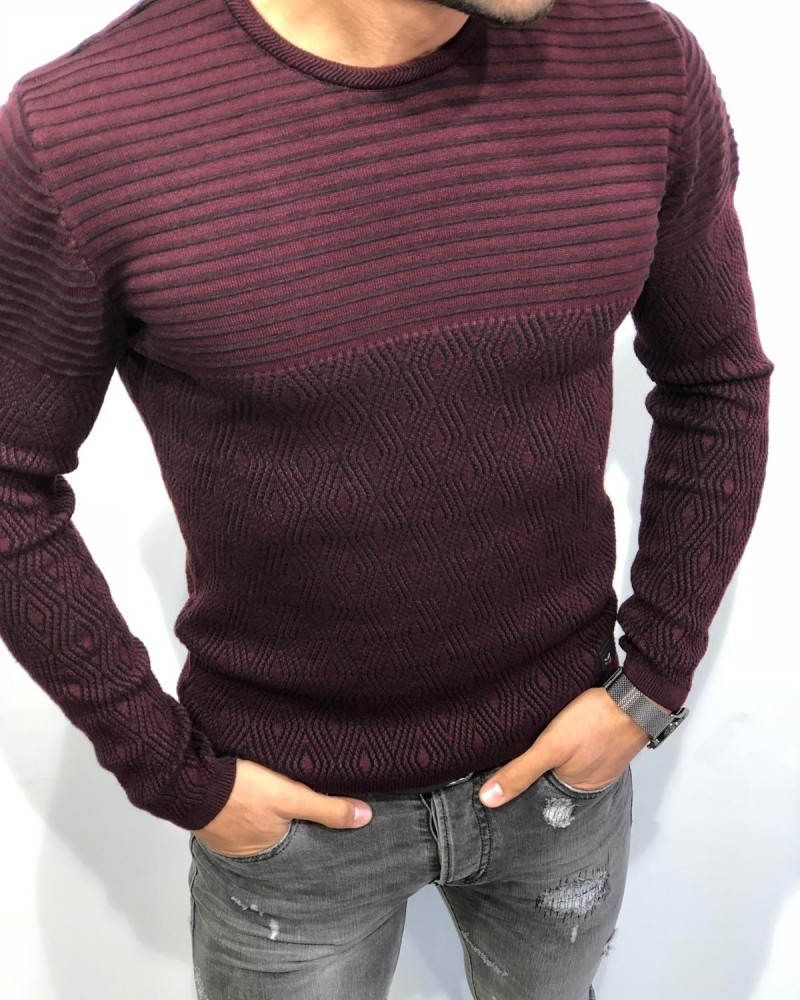 Claret Red Slim Fit Patterned Sweater by Gentwith.com with Free Shipping