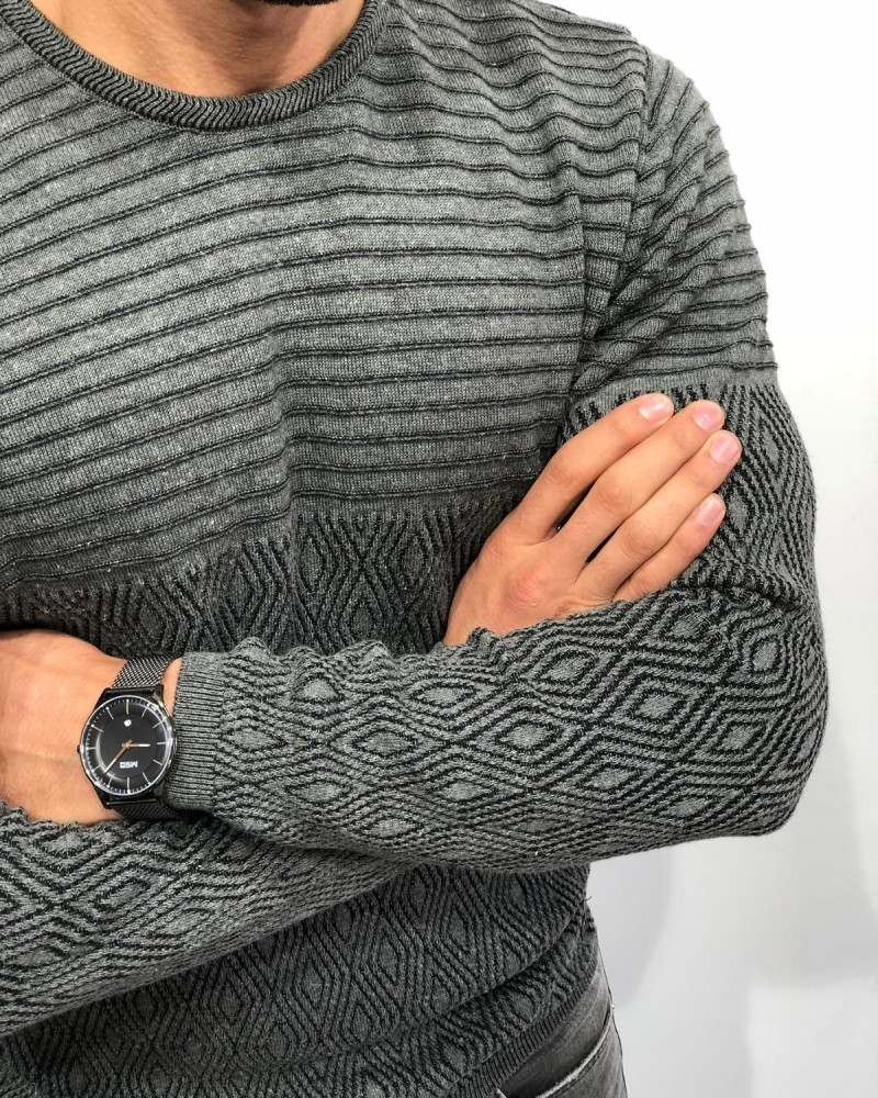 Gray Slim Fit Patterned Sweater by Gentwith.com with Free Shipping