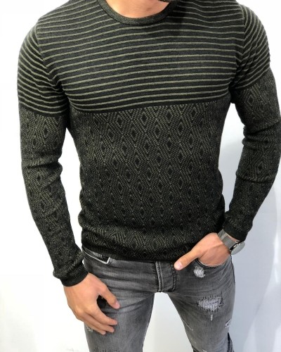 Khaki Slim Fit Patterned Sweater by Gentwith.com with Free Shipping