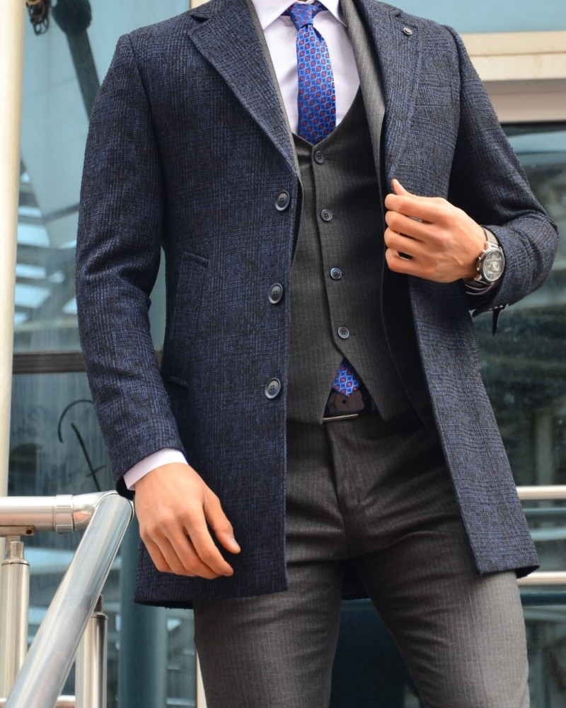 Navy Blue Slim Fit Plaid Wool Coat by Gentwith.com with Free Shipping
