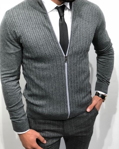Anthracite Slim Fit Cardigan by Gentwith.com with Free Shipping