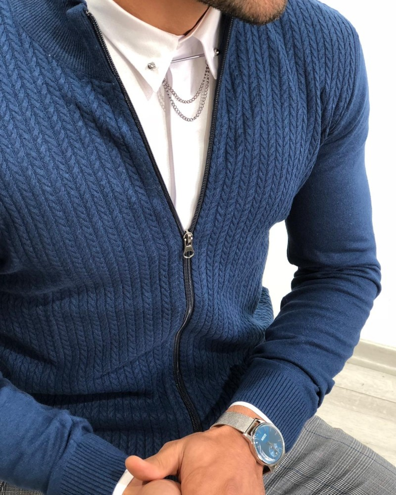 Indigo Slim Fit Cardigan by Gentwith.com with Free Shipping