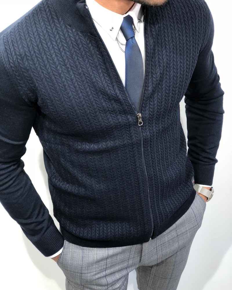 Navy Blue Slim Fit Cardigan by Gentwith.com with Free Shipping
