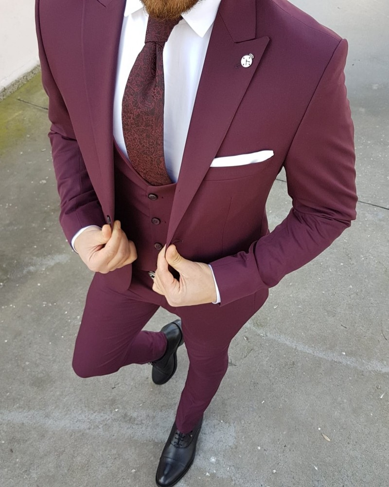 Red Slim Fit Suit by Gentwith.com with Free Shipping