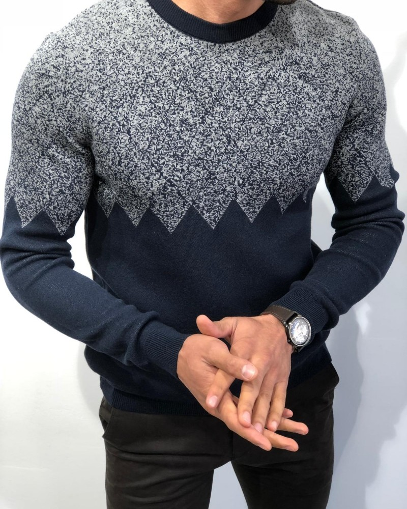 Navy Blue Slim Fit Patterned Sweater by Gentwith.com with Free Shipping
