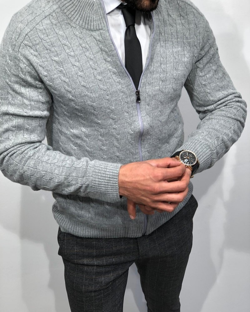 Gray Slim Fit Cardigan by Gentwith.com with Free Shipping