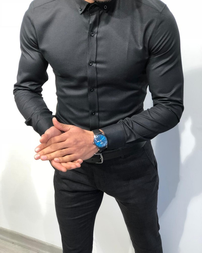 Black Slim Fit Chain Collar Shirt by Gentwith.com with Free Shipping