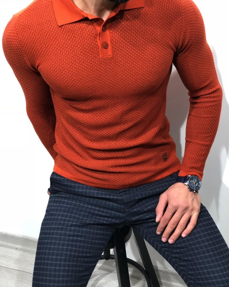 Orange Slim Fit Sweater by Gentwith.com with Free Shipping